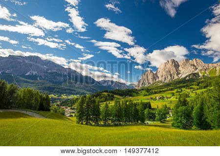 Magnificent valley with Cristallo mountain group near Cortina d'Ampezzo Dolomites mountains Italy Europe
