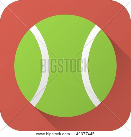 Vector illustration. Toy tennis ball in flat design with long shadow. Square shape icon in simple design. Icon vector size 1024 corner radius 180