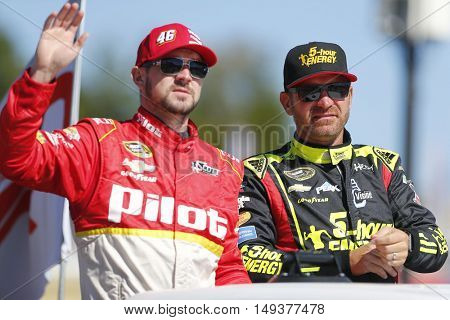 Loudon, NH - Sep 25, 2016: Clint Bowyer (15) and Michael Annett (46) get ready for the Bad Boy Off Road 300 at the New Hampshire Motor Speedway in Loudon, NH.