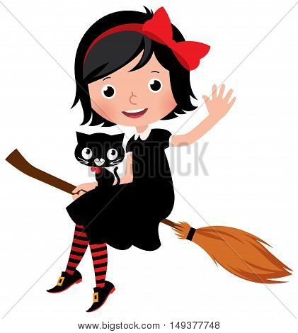 Witch in black dress flying on a broom with her cat Stock Vector cartoon illustration isolated on white background