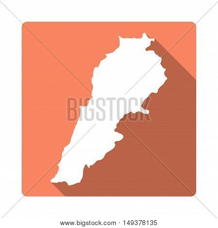 Vector Lebanon Map Button. Long Shadow Style Lebanon Map Square Icon Isolated On White Background. F