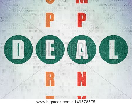 Finance concept: Painted green word Deal in solving Crossword Puzzle on Digital Data Paper background