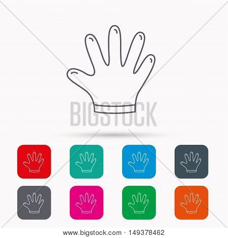 Rubber gloves icon. Latex hand protection sign. Housework cleaning equipment symbol. Linear icons in squares on white background. Flat web symbols. Vector