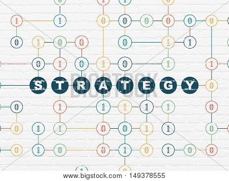 Finance concept: Painted blue text Strategy on White Brick wall background with Binary Code
