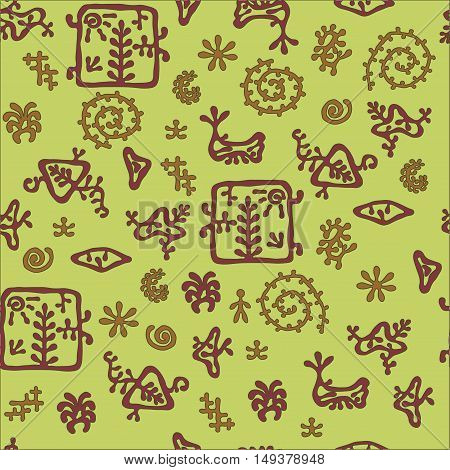rock painting style pattern autumn colors seamless texture for textile background and wrapping paper.