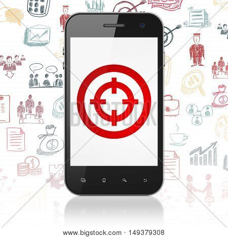 Finance concept: Smartphone with  red Target icon on display,  Hand Drawn Business Icons background, 3D rendering