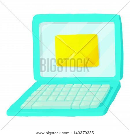 Letter on laptop icon in cartoon style isolated on white background. Communication symbol vector illustration