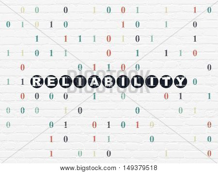 Finance concept: Painted black text Reliability on White Brick wall background with Binary Code
