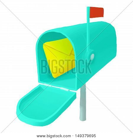 Mailbox with letter icon in cartoon style isolated on white background. Communication symbol vector illustration