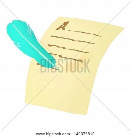 Pen and paper letter icon in cartoon style isolated on white background. Communication symbol vector illustration