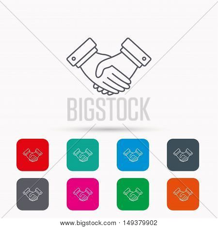 Handshake icon. Deal agreement sign. Business partnership symbol. Linear icons in squares on white background. Flat web symbols. Vector