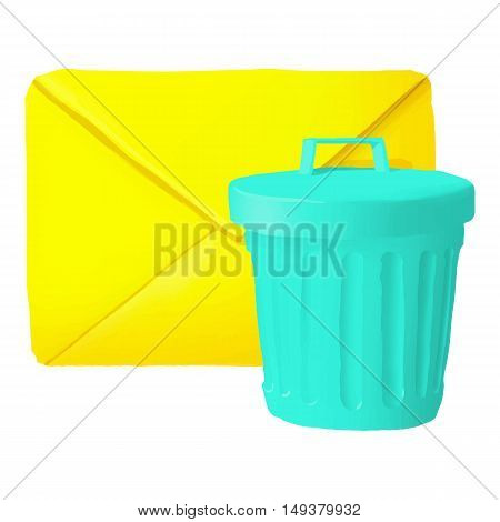 Delete message icon in cartoon style isolated on white background. Communication symbol vector illustration