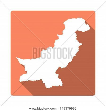 Vector Pakistan Map Button. Long Shadow Style Pakistan Map Square Icon Isolated On White Background.