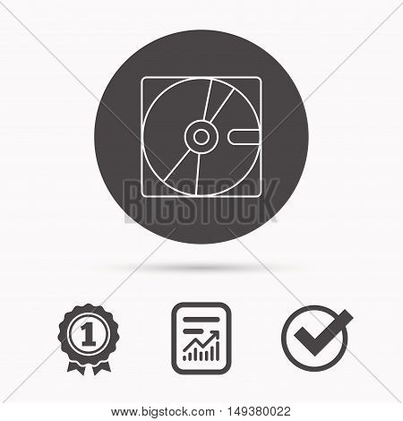 Harddisk icon. Hard drive storage sign. Report document, winner award and tick. Round circle button with icon. Vector