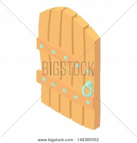 Wooden door icon in cartoon style isolated on white background. Interior symbol vector illustration