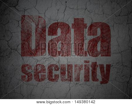 Safety concept: Red Data Security on grunge textured concrete wall background