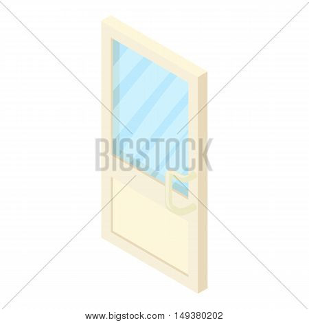 Door with glass icon in cartoon style isolated on white background. Interior symbol vector illustration