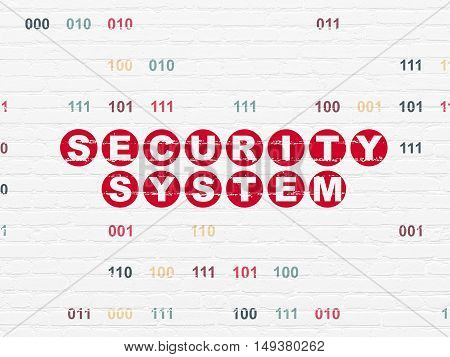 Safety concept: Painted red text Security System on White Brick wall background with Binary Code