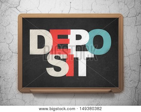 Currency concept: Painted multicolor text Deposit on School board background, 3D Rendering