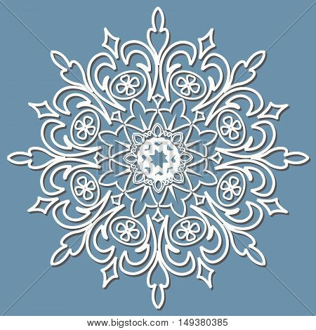 Vector decorative element mandala paper lace doily snowflake laser cut round ornament.