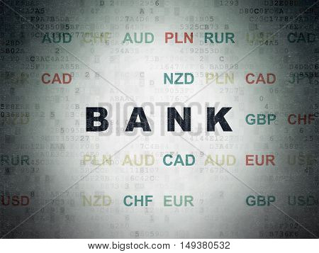Banking concept: Painted black text Bank on Digital Data Paper background with Currency