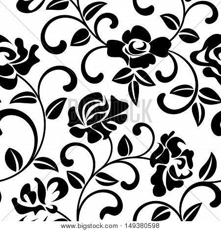 Seamless Pattern With Black Flowers On White Background. The Pattern Can Be Used For Printing On Tex