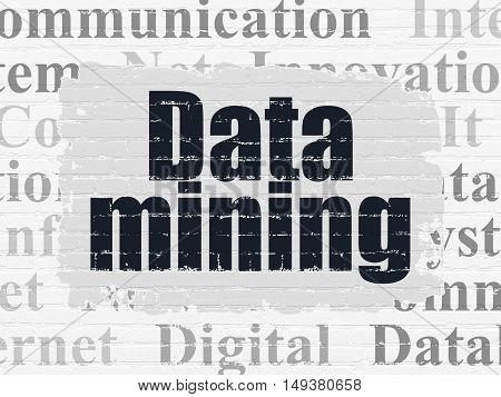 Information concept: Painted black text Data Mining on White Brick wall background with  Tag Cloud
