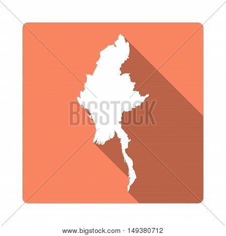 Vector Myanmar Map Button. Long Shadow Style Myanmar Map Square Icon Isolated On White Background. F