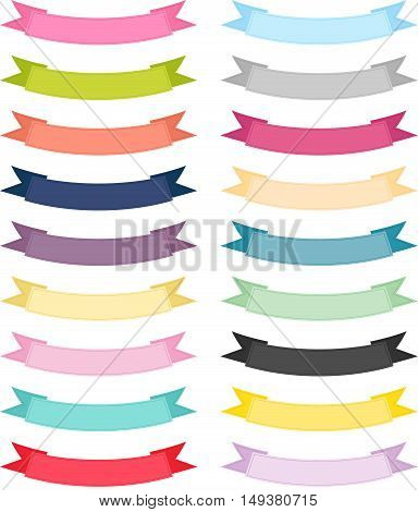 Scalable vectorial image representing a multiple color ribbon banner, isolated on white.