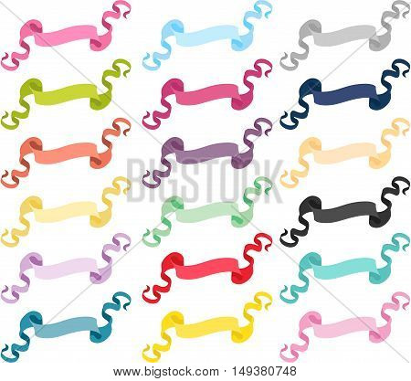 Scalable vectorial image representing a set of multicolored ribbons banners, isolated on white.