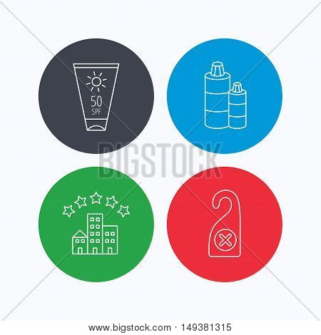 Hotel, shampoo and sun cream icons. Do not disturb linear sign. Linear icons on colored buttons. Flat web symbols. Vector