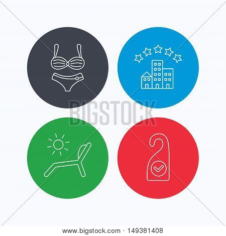 Hotel, lingerie and beach deck chair icons. Clean room linear sign. Linear icons on colored buttons. Flat web symbols. Vector