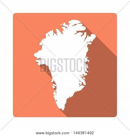 Vector Greenland Map Button. Long Shadow Style Greenland Map Square Icon Isolated On White Backgroun