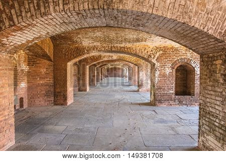 A series of brick arches inside Fort Jefferson on Dry Tortugas National Park, Florida.