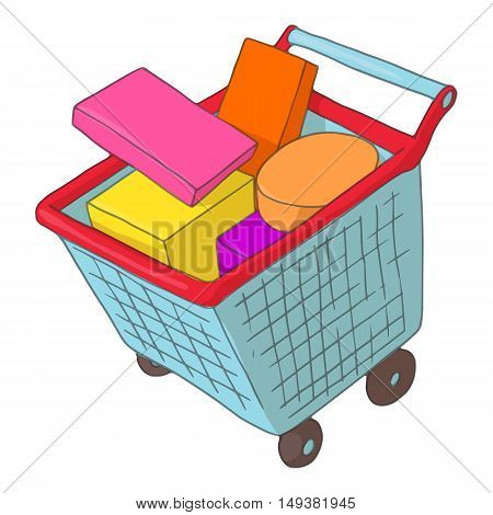 Basket on wheels with shopping icon in cartoon style isolated on white background. Purchase symbol vector illustration