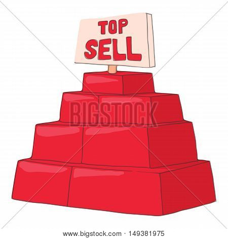 Top sell products icon in cartoon style isolated on white background. Purchase symbol vector illustration
