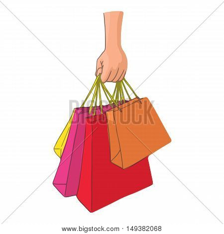 Hand with packages shopping icon in cartoon style isolated on white background. Purchase symbol vector illustration