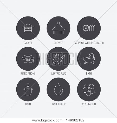 Ventilation, heat radiator and electric plug. Retro phone, shower and garage linear signs. Water drop, bath towel icons. Linear icons in circle buttons. Flat web symbols. Vector