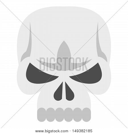 Skull icon in flat style isolated on white background. Death symbol vector illustration