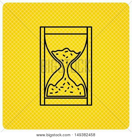 Hourglass icon. Sand time sign. Linear icon on orange background. Vector