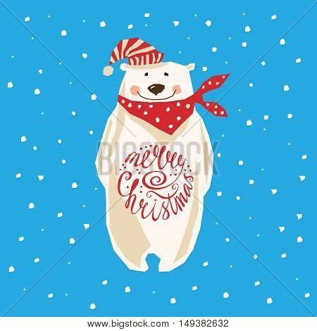 Polar Bear. Christmas card with polar bear
