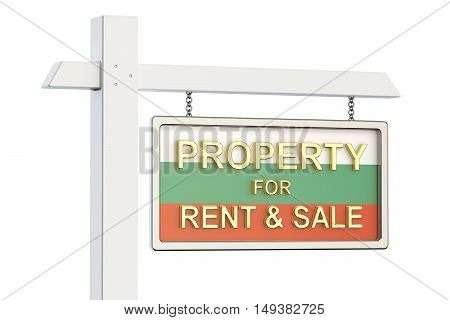 Property for sale and rent in Bulgaria concept. Real Estate Sign 3D rendering isolated on white background