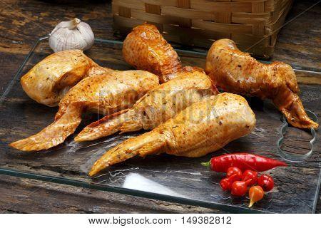 Smoked chicken parts