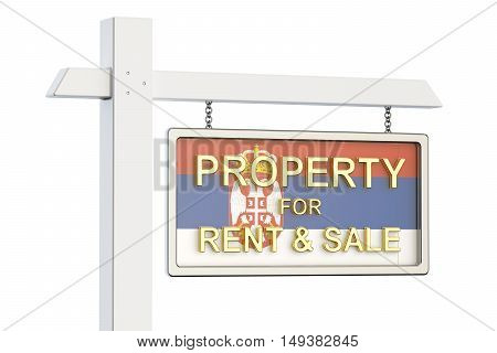 Property for sale and rent in Serbia concept. Real Estate Sign 3D rendering isolated on white background