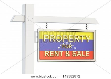 Property for sale and rent in Venezuela concept. Real Estate Sign 3D rendering isolated on white background