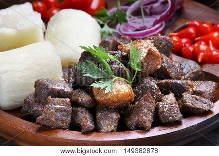 corned beef with cassava