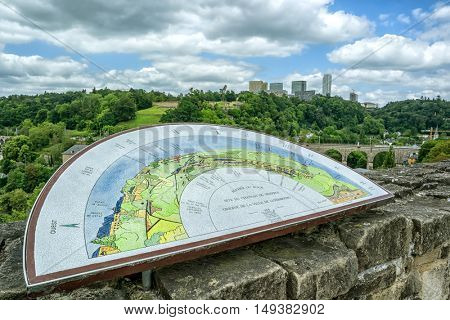 LUXEMBOURG, LUXEMBOURG - JUNE19, 2016:  Luxembourg plan on the background of the city