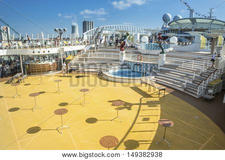 ROSTOCK, GERMANY - SEPTEMBER 15, 2016: Interior cabins on a Cruise ship  AIDAmar
