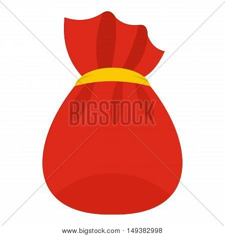 Bag of Santa Claus with gifts icon in flat style isolated on white background. New year symbol vector illustration