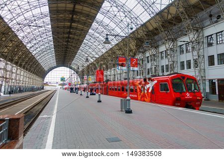 Moscow, Russia - September 19, 2016: Passengers board the train Aeroexpress at Kievskiy station